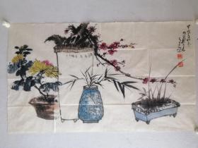 河南著名老画家郝石林花鸟老软片。