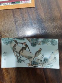 手绘书签 松猴图 雷立画