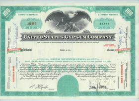 1968年美国石膏公司股票100股--雕刻版钱币级别精印