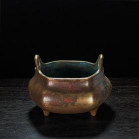 清名古款铜六方冲耳炉三足香炉熏炉文房收藏铜器古玩