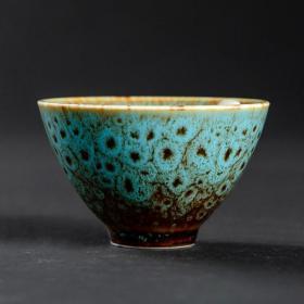 窑变成化杯青蓝【一拍两盏】 建盏茶杯 德化陶瓷窑变品茗杯 纹匠心制作 器型优美拙朴自然