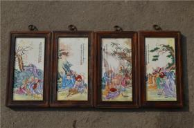 景德镇陶瓷大师手绘瓷板画171120056人物山水花鸟装饰画客厅摆件
