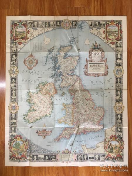 《英国地图》全英文全彩英国地图1张,周围有众多名人相,图画细致精美,字迹清晰,品相上佳。