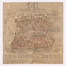古地图1663 天下九边万国人迹路程全图。纸本大小101.77*102.16厘米。宣纸原色仿真。微喷复制