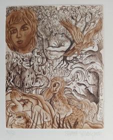 意大利 女版画家 西尔凡娜SILVANA MARTIGNONI 铜板藏书票原作11