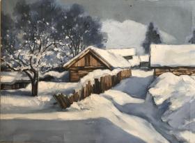 雪景油画作品D3