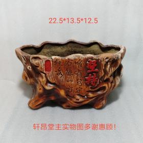 """大红大紫、树桩形、""""坚持""""题名:红陶老花盆"""