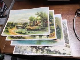 上海庐山画片图书出版社 五十年代【西洋风景】4张 不重复