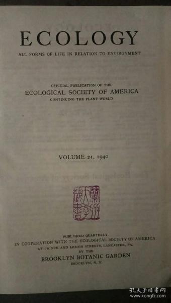 ECOLOGY 锛� ����瀛�瀛e�� 锛�1940