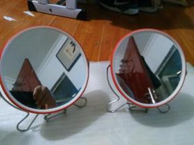 80年代小圆镜子1对(山东·济南制)【杂项-2】详见书影。品好