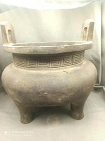 方耳腰光铜香炉