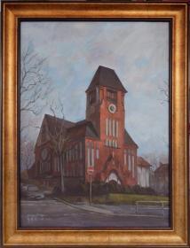 章璨然油画《教堂风景》(原创、唯一)