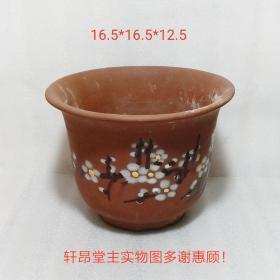 上个世纪 建国后:手绘水墨梅花图案 紫砂老花盆