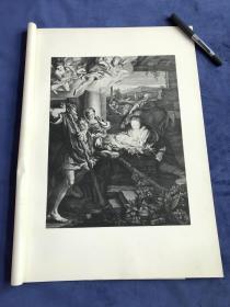 1876年高清照相版《圣夜》—意大利文艺复兴时期画家柯雷乔(Antonio da Correggio,1489-1534年)作品  45.2*31.4厘米