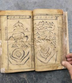 新镌碎玉剖秘地理不求人,卷二卷三卷四合一册,大开本清朝木刻,多地理胎图盘图。