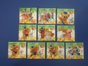 日邮·日本邮票信销·樱花目录编号  G174问候邮票 2017年迪士尼卡通-跳舞的泰迪熊  82日元10枚全