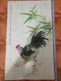 著名画家吴青霞.绘公鸡图.尺寸85*50