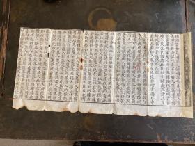 明代白棉纸佛经残页,一纸5折。长58.5cm,宽28cm。