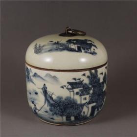 仿民国居仁堂青花江南水乡盖罐农村古董老货茶叶罐盖罐老物件收藏品