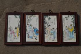 景德镇陶瓷大师手绘瓷板画171120061人物山水花鸟装饰画客厅摆件