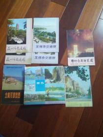 苏州市,无锡市,郑州市,北戴河市,青岛市交通游览图共八张(其中苏州市,无锡市青岛市双份儿)均为1980年代,附送成都市,徐州市地图)