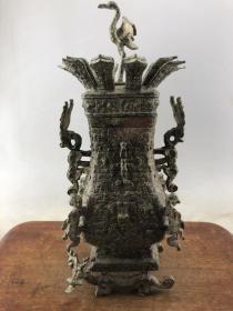 赔钱处理浮雕古兽纹老铜罐B3316