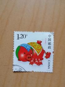丁亥(猪)年邮票1.20元3枚(合售6元,也可单枚选购,每枚3元)