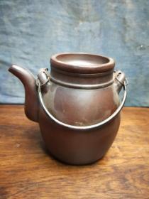 198元紫砂龙胆壶造型优美完整漂亮老提梁紫砂壶