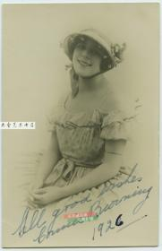 民国1926年女明星Connie Browning亲笔签名照片一张