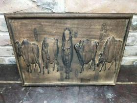 民国时期老楠木五牛图牌匾挂件,品如图