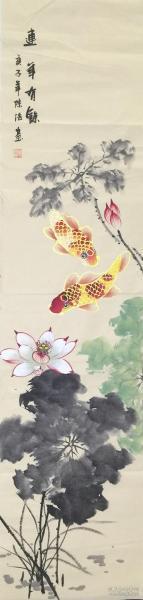 【保真】【陈浩】中国工笔画研究会会员、中国书画研究院画师、北京画院专业画家,一级美术师,中国画研究会北京会员、四尺条屏花鸟(134*34CM)3