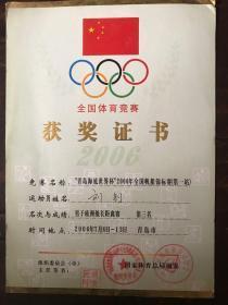 全国体育竞赛获奖证书