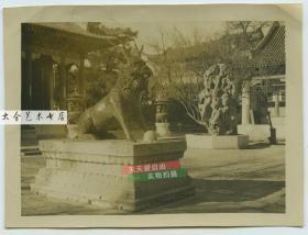 民国时期北京颐和园仁寿殿门口铜麒麟和北太湖石老照片