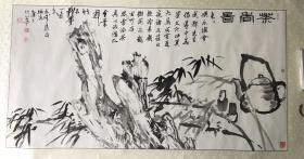 """温州著名书画家吴思雷先生和陈树冈先生以及吴永龙先生三人合作""""茶香图""""130x66cm 立轴"""