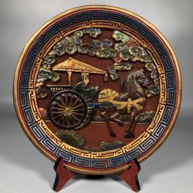 旧藏彩绘漆器圆盘【马拉车】人物故事赏盘摆件 净重730克