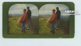 清代英格索尔拍摄于1904--1905年间东北辽宁旅顺日俄战争(日露战争)石印立体照片,印刷照片一张 : 中国东北满洲百姓的冬装