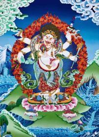 【白六臂玛哈嘎拉】精品彩唐收藏级 尼泊尔名家作品 矿物颜料,纯手工绘制,有大师签名落款