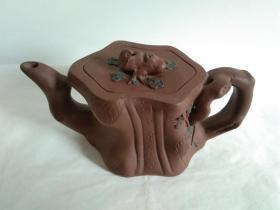 浩然斋 集藏紫砂器之六十二:紫砂名人周桂珍 制  梅段壶