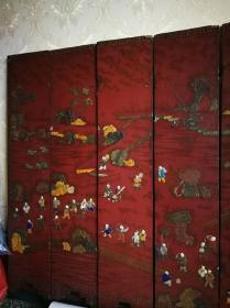 清代木器挂屏大漆嵌百宝百子图六扇屏古玩老漆器屏风保真包老物件