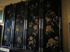 清代木器挂屏黑漆嵌百宝花鸟纹四扇屏古玩老漆器屏风保真包老物件