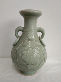 浩然斋集青瓷之一百零五:龙泉青瓷象耳瓶