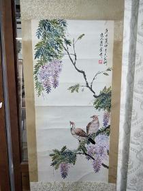 老画手绘紫藤装裱漂亮价格不高