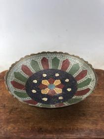 彩绘老铜碗B3638