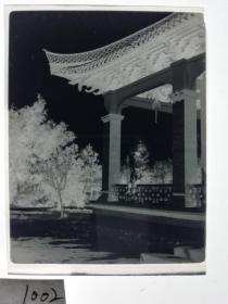 建国前后2*4cm老底片1张 宁波知识分子家庭系列 古建筑凉亭