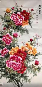 【来自作者本人,保证真迹】陕西省美术家协会会员,大长安艺术沙龙会员,文化中国签约画家韩普俊手绘! 花开富贵