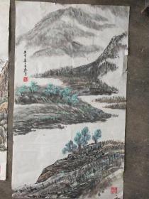 浙江画家  童中焘  早期山水3幅 有黄斑  尺寸分别是58x33     68x44  46x32