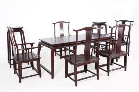 茶桌8件套 花几: 长0.38m 宽0.38m 高1.08m 条案:长1.98m 宽0.88m 高0.78m 主椅:长0.62m 宽0.50m 高1.07m 座高0.45m 客椅:长0.62m 宽0.50m 高1.18m 座高0.48m