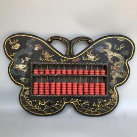 旧藏木胎彩绘漆器双龙图案蝴蝶形精打细算算盘 重2130克