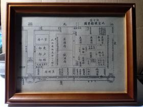 清光绪时期 北京使馆界图 庚子后北京使馆界图 北京地图20.3x15cm 带实木相框,非常漂亮,适合办公室书房悬挂摆放。最适宜博物馆展览和收藏 清代外国人在中国京师的分布,极其稀少。清光绪后期(1900-1908年间)印制,可以自由取出,不影响收藏