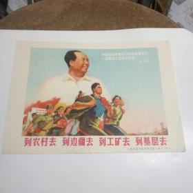 文革宣传画:到农村去 到边疆去 到工矿去 到基层去